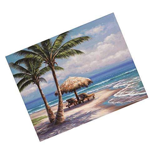 EXCEART 1Pc Seaside Coqueiro 5D Kits de Pintura Diamante DIY Broca Completa Cristal Bordado Seaside Beach Strass Pintura para Decoração de Casa Decoração da Parede