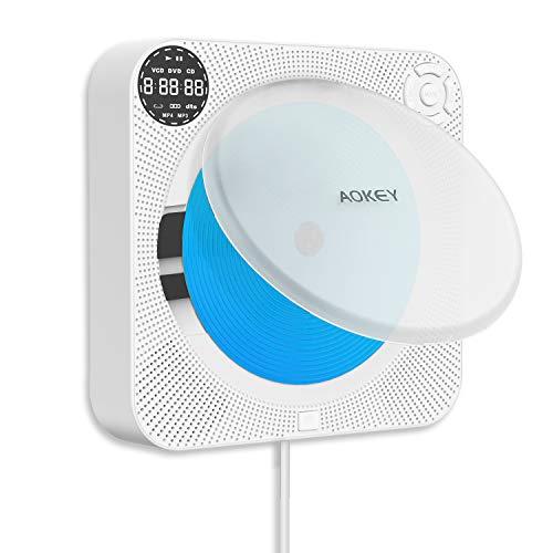 AOKEY CD-Player Für zu Hause, Tragbare CD-Player Für zu Hause Wiederaufladbare Integrierte HiFi-Lautsprecher mit Fernbedienung Für TV, Musik-Player, an der Wand Montierbare CD-Player mit Zugschalter