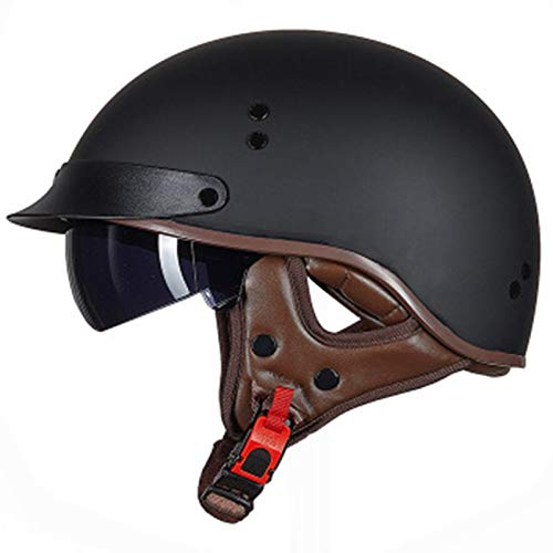 ZLYJ Vintage Motorrad Helm, Harley Helm mit Visier, Halbschalenhelm Jethelm Für Damen Und Herren, für Cruiser Chopper Biker, ECE Zertifizierung A,M