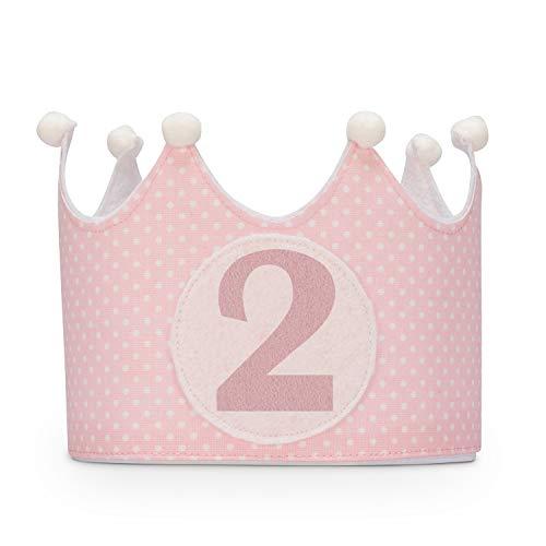 Kembilove Corona de Cumpleaños para Bebe – Coronas para Fiestas Segundo Cumpleaños – Coronas Cumpleaños Infantiles para Niños y Niñas – Ideal para Fotos y Fiestas de Cumpleaños Lunares Rosa