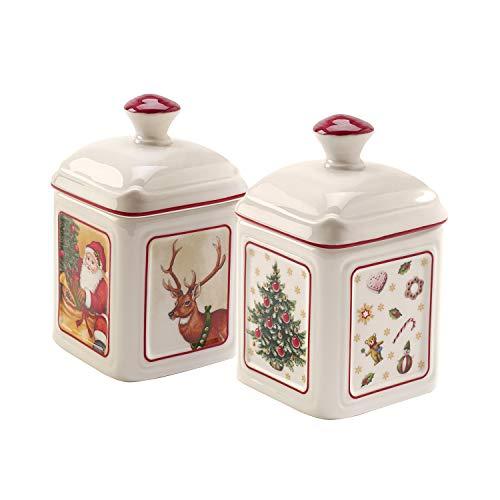 Villeroy und Boch Special Offer Charm Marmeladendose Toy\'s Delight Set 2 tlg., Konfitüren-Gefäß aus Hartporzellan, bunt, eckig