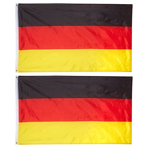 Juvale Flaggen Deutschland (Set, 2 Stück) - Zwei Messingösen, zum Teil Doppelt Genäht - Ideal für Sportveranstaltungen wie EM, WM, Fußballpartys, Public Viewing und mehr - Polyester, 0,9 x 1,5 m