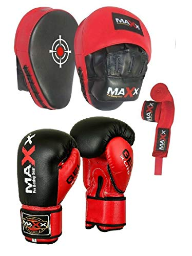 WITH FREE CHAIN! Boxing SET BLACK RED 5FT Punch bag Set Heavy Filled Bag With Gloves Bracket Focus Pad (BLACK RED, 12OZ)