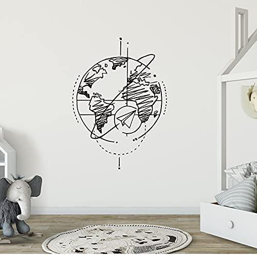 Disegno a tratteggio Terra Aereo di carta Volo globale Agenzia di viaggi Mappa del mondo Aeroplano di carta Adesivo da parete in vinile Decalcomania Camera da letto Soggiorno Decorazioni per