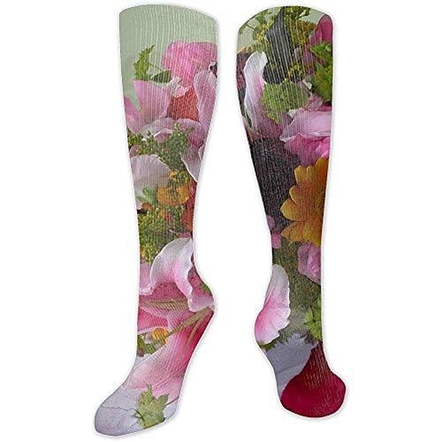 Web-ster Lelies Van De Vallei Vaas Lila Vensterbank Ultra Comfort Artistiek Unisex Hoge Sokken Stocking Sokken Voor Feest, Vakantie, Reizen, Gift
