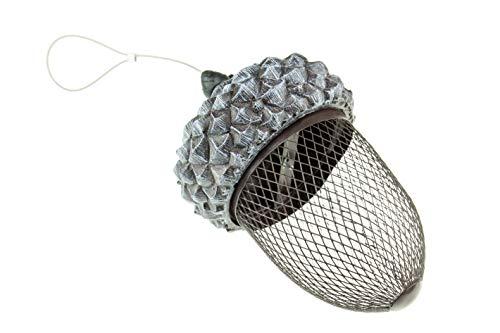 Clever Creations Bird Haus - Vogelfutterspender zum Aufhängen - in Eichel-Form - aus Metall - ideal als Gartendekoration