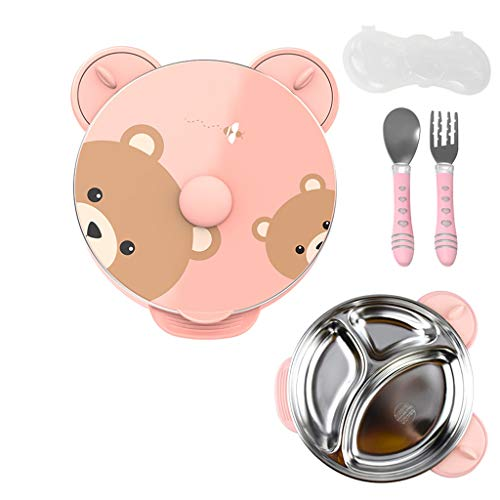 vajilla Infantil Los niños del vajilla del bebé Gota a Prueba de Copa de succión del bebé cuadrícula de Dibujos Animados Plate Alimentación Complementaria Vajilla Personalizada (Color : Pink)