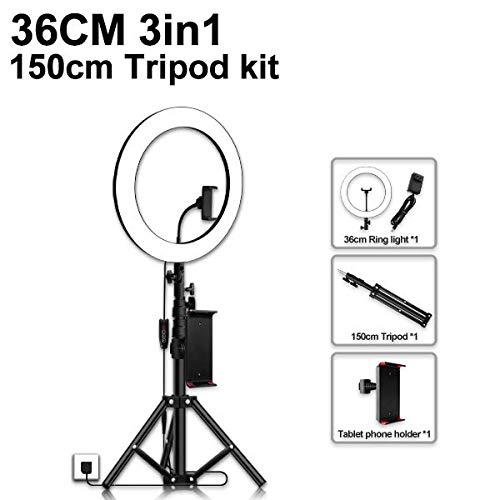 Ringvullicht met statief, geschikt voor live streaming, fotografie, gezichtsfotografie, met smartphone compatibele led-verlichting, 150 cm