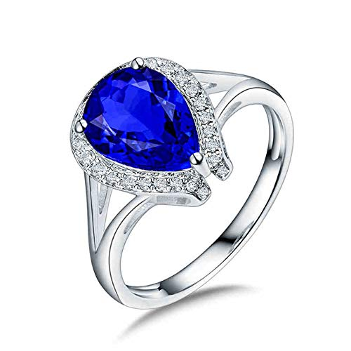 AnazoZ Anillo con Tanzanita Mujer,Anillo Oro Blanco 18K Mujer Plata Azul Gota de Agua Tanzanita Azul 1.89ct Diamante 0.15ct Talla 20