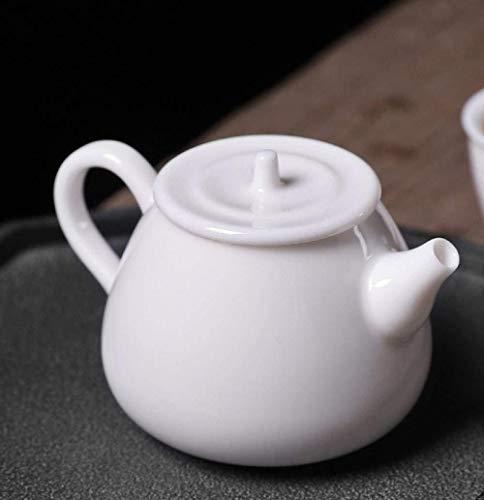 Tetera Tetera de cerámica Tetera de esmalte Tetera Juego de té de porcelana blanca Tetera de cerámica Olla individual Juego de té individual Tetera cucharada de piedra para el hogar - Porcelana blanc