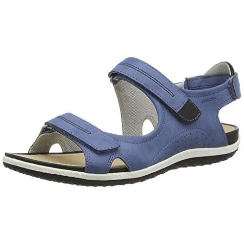 Geox D Vega A, Sandali con Cinturino alla Caviglia Donna, Blu (Denim/Black C4J9B), 35 EU
