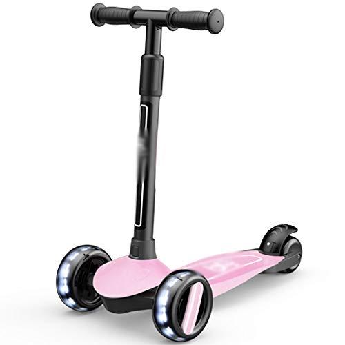 Patinete Patinete Antideslizante, Monopatín Amortiguador, Karting Portátil con Rueda Flash, Hombres Y Mujeres (Color : Pink, Size : 57 * 27 * 54-76cm)