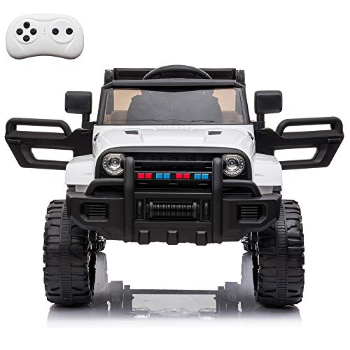 VALUE BOX Kids Ride On Truck, 2.4G Remote Control Kids Electric Ride-on Car 12V Battery Motorized Vehicles Age 3-5 w/ 3 Speeds, Spring Suspension, LED Lights, Horn, Music Player, Seat Belts (White)
