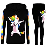 Girls Dabbing Unicorn Hooded Top and Leggings Tracksuit Set Colour: Black - Size: 13 Years