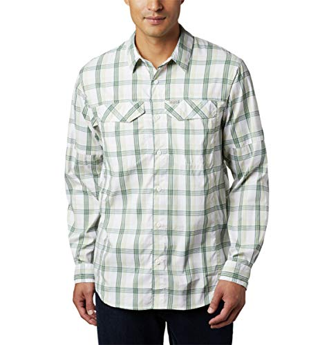 Columbia Silver Ridge Lite - Camisa de Manga Larga para Hombre, diseño de Cuadros, Color Plateado, Hombre, 1711583, Cuadros de caña, 1 Unidad