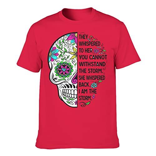 XJJ88 Herren-T-Shirt mit Totenkopf-Motiv, aus Baumwolle, weich Gr. XXXXX-Large, rot