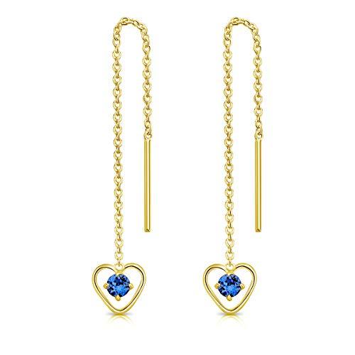 DTPsilver Pendientes con Cadena y colgante - Corazón con 3 mm Cristal Swarovski Elements - Plata de Ley 925 Plateado en Oro Amarillo - Longitud 68 mm - Color: Zafiro Azul