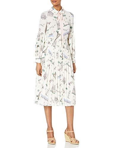 Dear Drew by Drew Barrymore Women's The Cubist Long Sleeve Tie Neck Pleated Dress, Paris Creme, 6