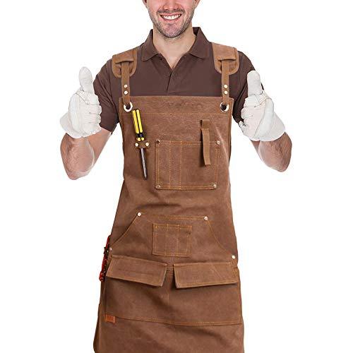 RENDONG Holzbearbeitungswerkstatt Schürze Leinwandarbeitsschürze, Verstellbare Kreuzrückengurt-Werkzeugschürze + 9 Werkzeugtaschen, Für Holzarbeiter Schmiede Gärtner...
