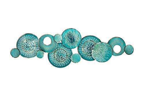 Kunstloft Extravagante Escultura de Pared de Metal armonía' 150x50x6cm   Decoración XXL Metal Arte   Abstracto círculos Turquesa Azul   Cuadro Hecho a Mano Imagen Mural de Arte Moderno