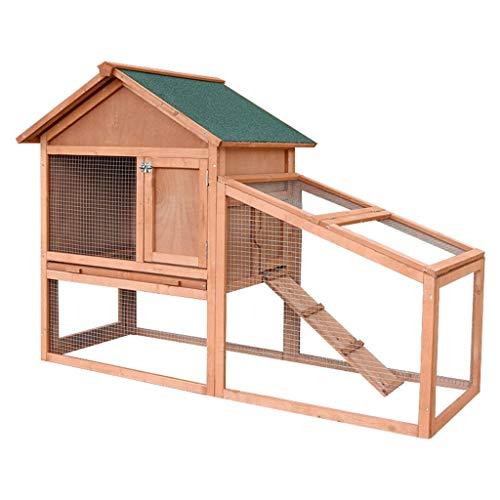 Gallinero jaula para conejos con corral libre jaula para conejillos de indias con corral de cuero y techo de linóleo suministros para mascotas pajareras (color: naranja, tamaño: 143 * 64.5 * 100 cm)