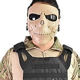 Wwman Paintball Airsoft Máscara, Máscara CS Táctica Sólida de Protección Completa para la Cara Completa con Lentes (WWZL2-TAN-G)