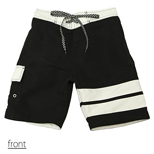 SAFS Women's Board Shorts Accent Double Striped Cover Up Swim Trunks Black 8
