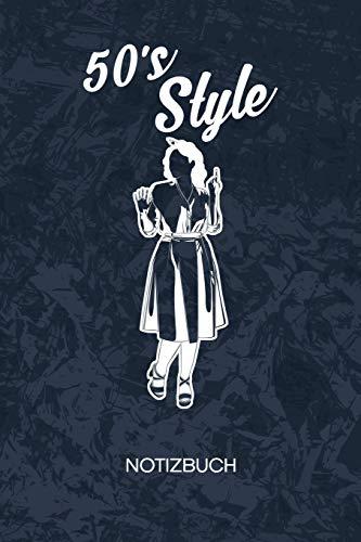 50s Style: Klassik Fans Notizbuch A5 Kariert - Vintage Liebhaber Heft - Retro Notizheft 120 Seiten KARO - 50er Jahre Kleidung Notizblock Petticoat Kleid Motiv - 90er Kind Geschenk