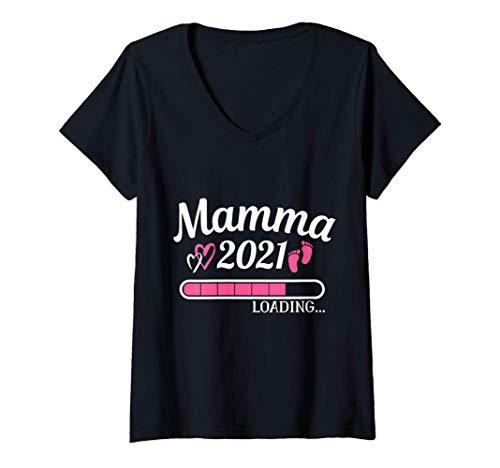 Donna Mamma 2021 Loading Divertente Gravidanza Annuncio Premaman Maglietta con Collo a V