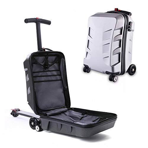 21 inch suitcase scooter suitcase travel case wheels case rear skateboard, white/black