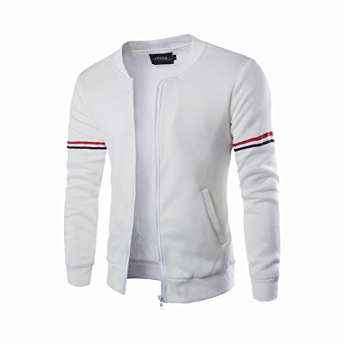 Canserin Hot Sale! Men Jacket, Mens Autumn Winter Decorative Ribbon Leisure Jacket Casual Stand Collar Zipper Coat (L, White)