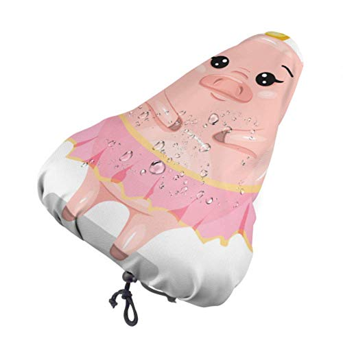 Enoqunt Funda para Asiento de Bicicleta Cute AVA-Tar Pig Prin-Cess Animal Crown Protective Sun and Rain Resistant Bike Saddle Cojín