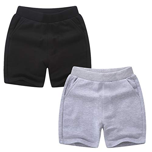qtGLB Boys Shorts 2 Pack with Front Pocket, 100% Cotton Athletic Running Sports for Little Kids Toddler 1-14 Years