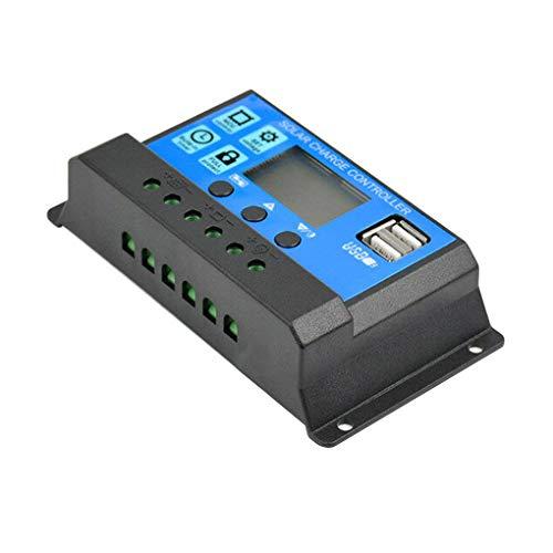 Demino -Zonnepaneel Regulator batterijlading Controller LCD-scherm Volledige 4-traps PWM Charge management, 10A, Blauw, 3 Button