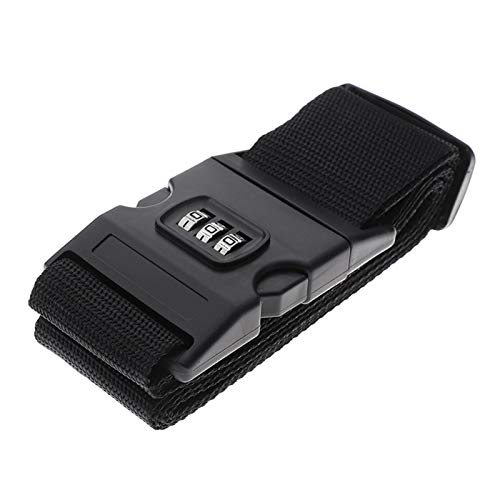 Luggage Strap Cross Strap Packaging Adjustable Travel Accessories Suitcase Nylon 3 Digits Password Lock Buckle Belt Tag 200CM Nbxypeaus (Color : Black)