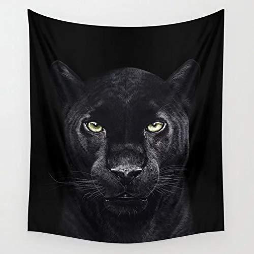 N/A Tapiz al Aire Libre Pantera en Tapiz Negro Animal Colgante de Pared para habitación Colcha de Playa tapices psicodélicos Accesorios de decoración del hogar