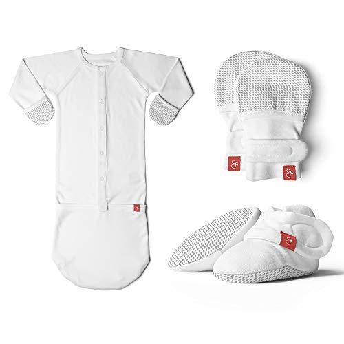 Newborn Bundle, Baby Mittens, Booties & Gown, Bamboo / Organic Cotton Sleeper Pajamas 3-Piece Set (0-3 Months, Drops/Gray )