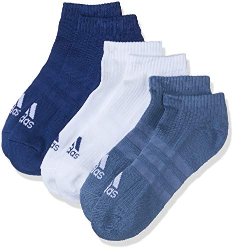 adidas Cf7343 - Calcetines tobilleros Unisex Adulto, 3 bandas, Azul (noble indigo s18 / white / raw steel), Talla 35-38