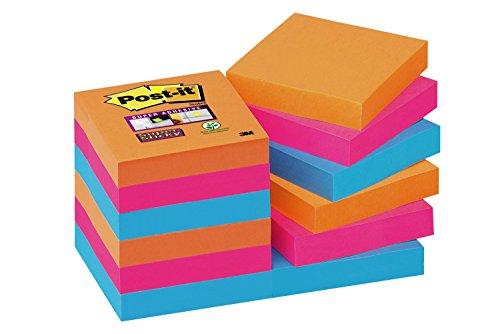 Post-It 622-12SS-EG - Pack de 12 blocs de notas adhesivas, 47,6 x 47,6 mm, multicolor (naranja neón/rosa fucsia/azul mediterráneo)