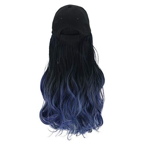 Lange krullende pruik capuchon pruik kleurverloop blauwe pruik 65 cm kap lange haren honkbalpet balcaps vrijetijdshoed met pruik blauw