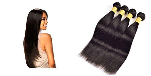 YanT HAIR Lot de 4 extensions de cheveux humains vierges indiens de qualité 8A 50,8 cm, 56,9 cm, 61 cm, 61 cm, couleur noire naturelle