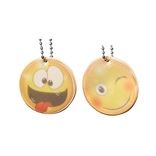 2 Reflektoren Emoji Anhänger Ø 5 cm inkl. Kette und Clip für Schulranzen, Jacke, Rucksack, Sportbekleidung. Beidseitig reflektierend. Verrückt und mit Zunge
