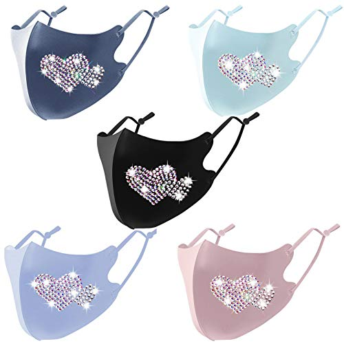 Valentine's Day Face Masks for Women Heart Bling Rhinestone Washable Reusable Coronàvịrụs Protectịon Masks (5 Pcs A)