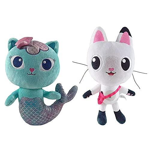 ViperIMR Gabby's Dollhouse Felpa, Juego De 2 Piezas De Dibujos Animados De Gatos Lindos Pandy Paws Mercat Muñeco De Peluche Regalo para Niños Y Niñas