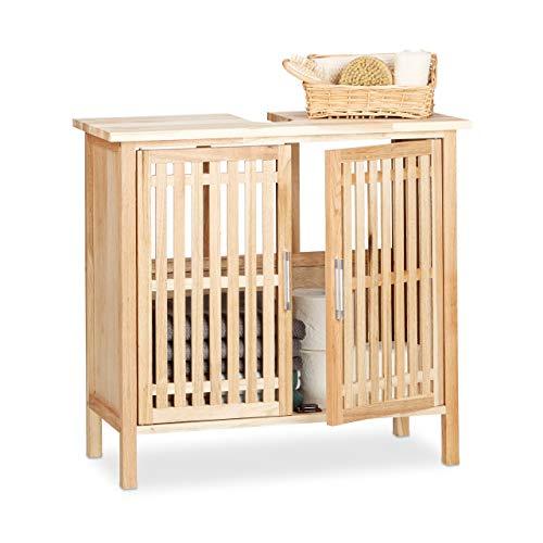 Relaxdays wastafelonderkast staand, kleine onderkast van walnoot, badkamerkast met sifon-uitsparing, naturel