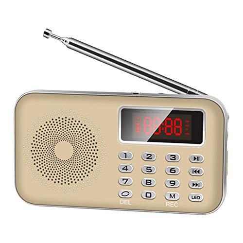 Y-619 Alto-falante portátil rádio FM AM/USB/cartão TF MP3 Player/lanterna LED AUX - Dourado