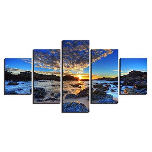 RuYun decoratief schilderij kantoor 5 met inkjet - strandrestaurant rotsachtige seascape schilderij slaapkamer sofa achtergrond canvas schilderwerk, schilderij kern 30x60cmx2 30x80cmx1 30x40cmx2, hh233-17