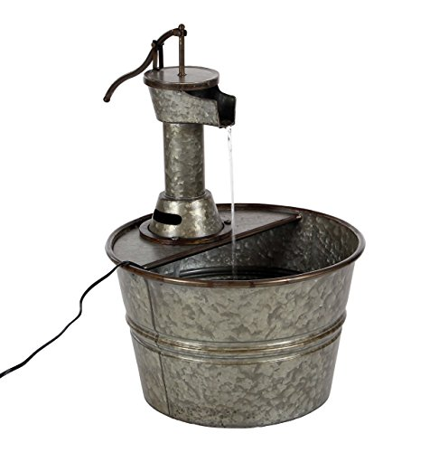 Deco 79 70551 Gray Iron Water Pump with Bucket Design Fountain, 18' x 15'