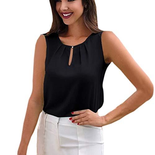 DEELIN Mode Féminine Simple Chemise en Mousseline de Soie élégante O-Cou sans Manches Chemise de Couleur Unie en Vrac Chemise de Travail