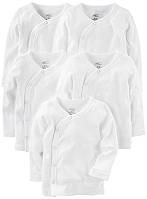 Simple Joys by Carter's Baby 5-Pack Side-Snap Long-Sleeve Shirt, White, Newborn